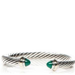 David Yurman Green Onyx Cable Cuff Bracelet
